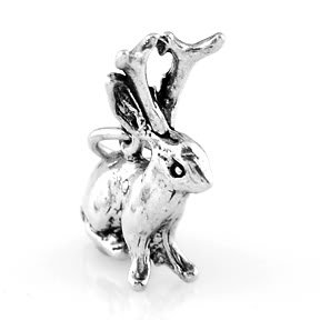 """STERLING SILVER JACKALOPE CHARM WITH 16"""" BOX CHAIN"""