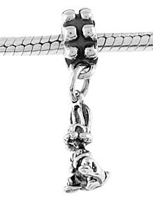 STERLING SILVER DANGLING RABBIT/BUNNY EUROPEAN BEAD