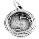 STERLING SILVER BIRD'S NEST CHARM/PENDANT