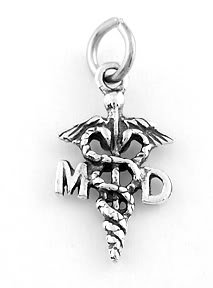 STERLING SILVER MD MEDICAL DOCTOR CADUCEUS CHARM/PENDANT