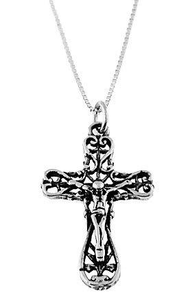 "STERLING SILVER ORNATE JESUS CRUCIFIX WITH 16"" SILVER BOX CHAIN"