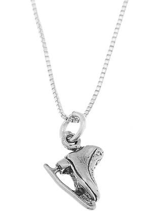 STERLING SILVER FIGURE SKATER SKATE / ICE SKATE CHARM WITH 16 inch BOX CHAIN NECKLACE