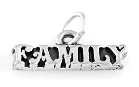 """STERLING SILVER FAMILY CHARM WITH 16"""" BOX CHAIN"""