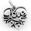 "STERLING SILVER LOVE IN HEART CHARM W/ 16"" BOX CHAIN"