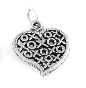 "STERLING SILVER XOXO HEART CHARM W/ 16"" BOX CHAIN"