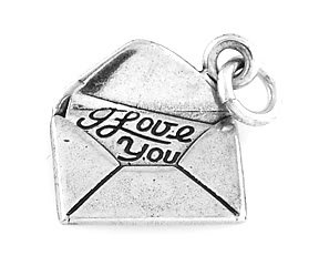 "STERLING SILVER LOVE LETTER CHARM W/ 16"" BOX CHAIN"