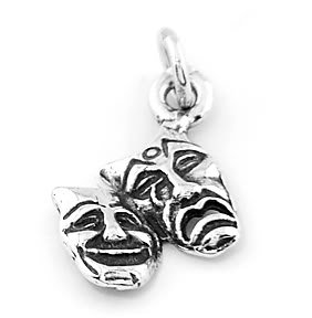 STERLING SILVER COMEDY TRAGEDY DRAMA MASK CHARM/ PENDANT