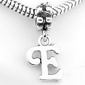 STERLING SILVER DANGLING FANCY LETTER E EUROPEAN BEAD