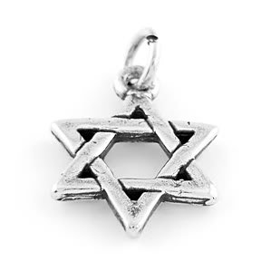 "STERLING SILVER STAR OF DAVID CHARM W/ 16"" BOX CHAIN"