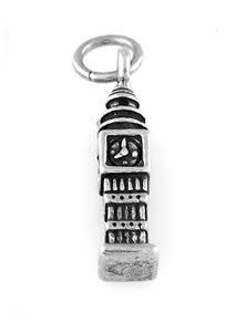 "STERLING SILVER BIG BEN CLOCK CHARM WITH 16"" BOX CHAIN"