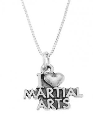 STERLING SILVER I LOVE (HEART) MARTIAL ARTS CHARM WITH 16 INCH BOX CHAIN NECKLACE