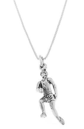 STERLING SILVER MALE RUNNER / MALE JOGGER CHARM WITH 16 inch BOX CHAIN NECKLACE