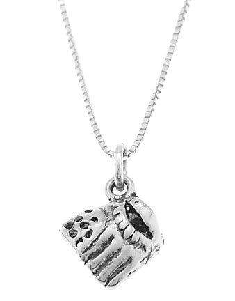 STERLING SILVER BASEBALL GLOVE / SOFTBALL GLOVE CHARM WITH 16 INCH BOX CHAIN NECKLACE