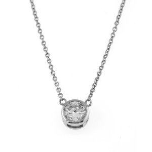 STERLING SILVER CZ ROUND SOLITAIRE BEZEL SET NECKLACE