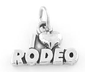 STERLING SILVER I LOVE RODEO CHARM/PENDANT