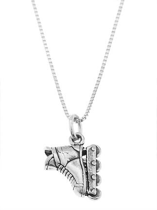 STERLING SILVER ROLLERBLADE / INLINE SKATE CHARM WITH 16 INCH BOX CHAIN NECKLACE