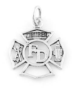 STERLINGSILVER FIRE DEPARTMENT MEMBER CHARM/PENDANT