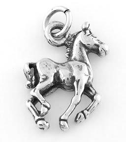 STERLING SILVER WALKING HORSE (FLAT) CHARM/PENDANT
