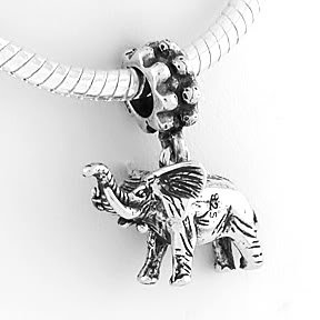 STERLING SILVER DANGLING ELEPHANT EUROPEAN BEAD