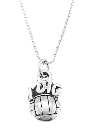 STERLING SILVER  I DIG VOLLEYBALL CHARM WITH 16 inch BOX CHAIN NECKLACE