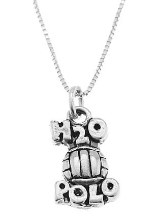 STERLING SILVER H2O POLO / WATER POLO CHARM WITH 16 inch BOX CHAIN NECKLACE