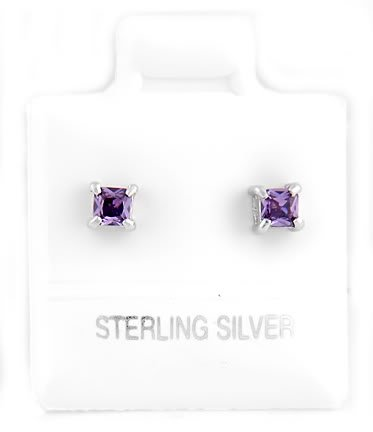 STERLING SILVER FEBRUARY BIRTHSTONE CZ CHILD POST EARRINGS 3mm