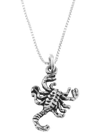 STERLING SILVER INSECT / SCORPION CHARM WITH 16 INCH BOX CHAIN NECKLACE
