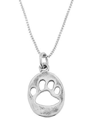STERLING SILVER CUT OUT PAW PRINT / ANIMAL PRINT CHARM WITH 16 INCH BOX CHAIN NECKLACE
