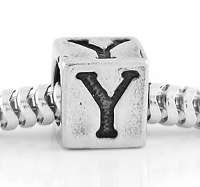 STERLING SILVER ALPHABET INITIAL Y CUBE EUROPEAN BEAD
