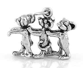 STERLING SILVER 3D THREE BLIND MICE CHARM/PENDANT