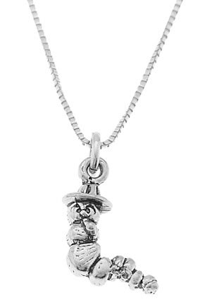 STERLING SILVER LITTLE CATERPILLAR / INCH WORM CHARM WITH 16 inch BOX CHAIN NECKLACE