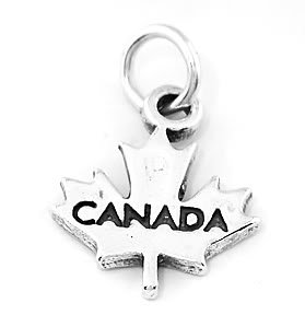 STERLING SILVER CANADA MAPLE LEAF TRAVEL CHARM/PENDANT