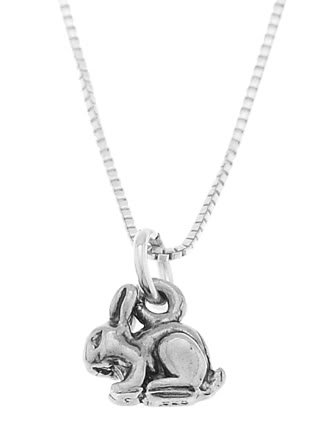 STERLING SILVER SMALL BUNNY RABBIT CHARM WITH 16 INCH BOX CHAIN NECKLACE