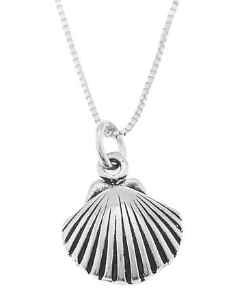 STERLING SILVER OCEAN SEASHELL / SEA SHELL CHARM WITH 16 inch BOX CHAIN NECKLACE
