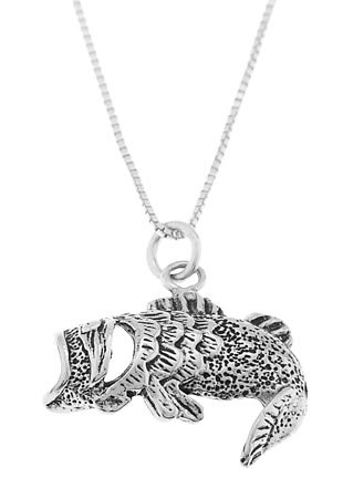 STERLING SILVER OPEN MOUTH BASS FISH CHARM WITH 16 inch BOX CHAIN NECKLACE