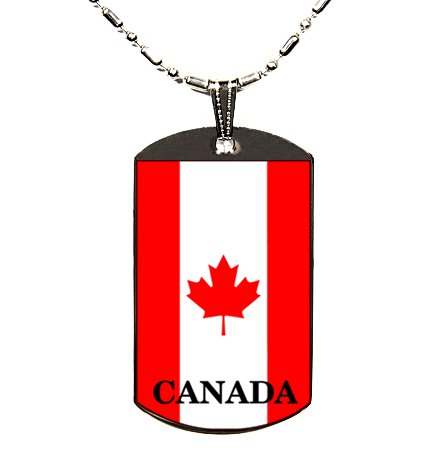 CANADIAN CANADA FLAG POLYMER COLOR PHOTO DOGTAG DOG TAG