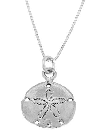 STERLING SILVER SAND DOLLAR / SAND-DOLLAR CHARM WITH 16 INCH BOX CHAIN NECKLACE
