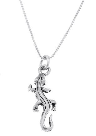 STERLING SILVER GECKO LIZARD / DESERT LIZARD CHARM WITH 16 inch BOX CHAIN NECKLACE