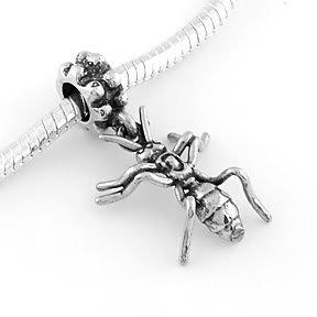 STERLING SILVER DANGLING ANT EUROPEAN BEAD