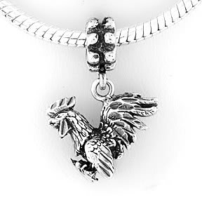 STERLING SILVER DANGLING ROOSTER EUROPEAN BEAD