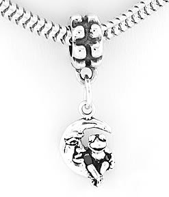 STERLING SILVER DANGLING FROG SITTING ON MOON EUROPEAN BEAD