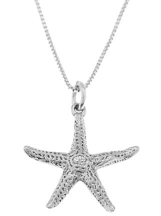 STERLING SILVER NAUTICAL STARFISH / OCEAN STARFISH CHARM WITH 16 inch BOX CHAIN NECKLACE