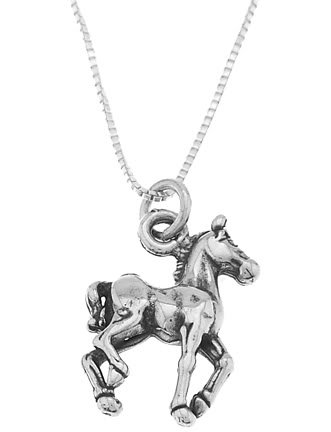 STERLING SILVER WALKING HORSE / PRANCING HORSE CHARM WITH 16 inch BOX CHAIN NECKLACE
