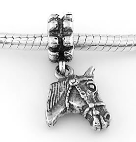 STERLING SILVER DANGLE HORSE HEAD EUROPEAN BEAD