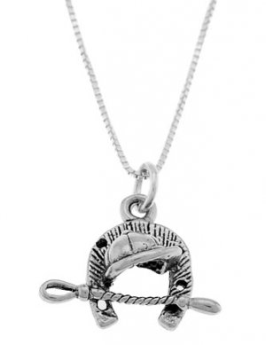 STERLING SILVER EQUESTRIAN HORSE BACK RIDING TOOLS CHARM WITH 16 inch BOX CHAIN NECKLACE
