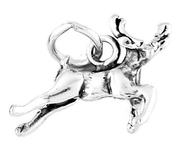STERLING SILVER FLYING REINDEER CHARM/PENDANT