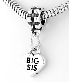 STERLING SILVER DANGLE BIG SIS HEART EUROPEAN BEAD