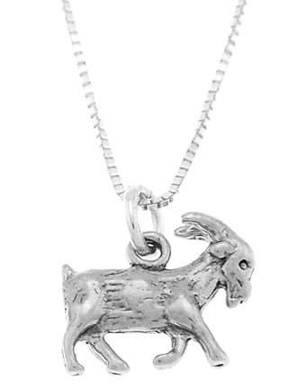 STERLING SILVER LIVESTOCK FARMER'S GOAT CHARM WITH 16 inch BOX CHAIN NECKLACE