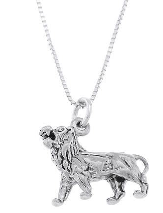 STERLING SILVER FEROCIOUS STRONG LION CHARM WITH 16 inch BOX CHAIN NECKLACE