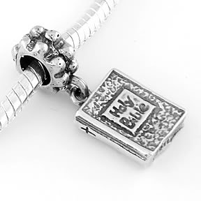 STERLING SILVER DANGLE HOLY BIBLE EUROPEAN BEAD